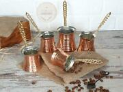 Turkish Coffee Pots With Brass Handle Traditional Handmade Copper Cezve Set Of 5