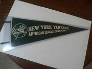 1940's Full Size New York Yankees American League Champions Pennant Nm With Tag