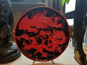 Gorgeous Rare Carved Shellac Or Lacquer Dragon Plate