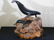 John Perry Studio Carved Balanite Pellucida Whale And Young Sculpture On Burl Wood