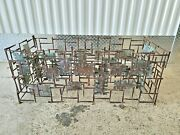 70's Silas Seandel Welded Nail And Copper Cut Out Coffee Table Signed No Glass