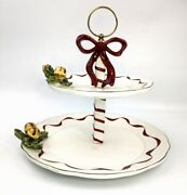 Noble Excellence Holly Bells 3d Ribbon Porcelain Holiday 2 Tier Cookie Plate