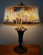 Pairpoint Birch Tree Forest Lake Scene Reverse Painted Table Lamp