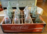 Vintage Wooden Coca Cola Crate With Vintage Pepsi And Coke Bottles