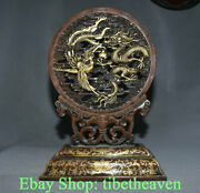 16.8 Marked Old Chinese Red Copper Gilt Dynasty Dragon Phoenix Folding Screen