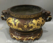19 Old Chinese Purple Bronze Gilt 2 Elephant Head Dragon Incense Burner Censer