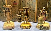 Vintage Celluloid Japanese Lot Of 3 Figurines 2 Carry Water Buckets 1 Has Basket
