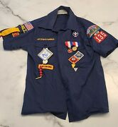 Vintage Official Cub Scout Class A Shirt With Patches/medals Short Sleeve