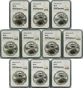 Lot Of 10 - 2000 American Silver Eagle 1 Ngc Ms69