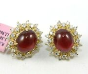 Natural Oval Cabochon Ruby And Diamond Halo Stud Earrings 14k Yellow Gold 15.32ct