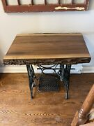 Live Edge Walnut Table With Cast Iron Sewing Machine Base