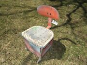 Vintage Industrial Factory Shop Stool Machine Age Drafting Chair W/drawers
