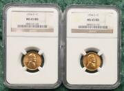 1954 Ngc Ms 65 Red S And D Mint Lincoln Wheat Cent Pair 2 Ngc Certified Coins