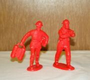 Vintage Red Celluloid Plastic Rare Htf Red Firemen Firefighters 4 Figures Lot