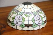 Antique Leaded Stained Glass Floral Shade Slag Glass Handel Era 15.5
