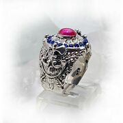 France Oval Silver Ring With Flag Color Cz Stones
