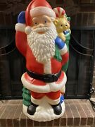Vintage Tpi Blow Mold Christmas Santa With Teddy Bear And Sack Of Toys
