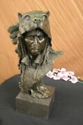 Art Deco Western Native American Bronze Indian Chief With Headdress Sculpture