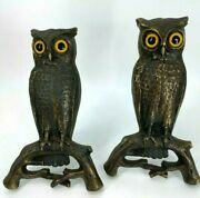 Antique 1887 Cast Iron Owl Fireplace Andirons With Original Glass Eyes