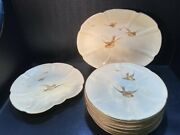 Antique Grainger Royal China Works Plates And Serving Platters Hand-painted Bird