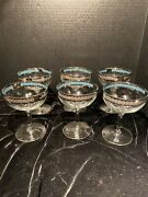 Vintage Champagne Glasses Silver Trim Band With Turquoise Blue Inlay Rim Set 6