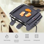 Electric Smokeless Bbq Grill Mini Reversible Griddle Barbecue 4 Baking Pans