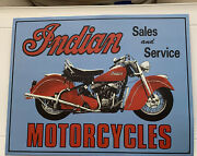 Vintage Replica Tin Metal Sign Indian Sales And Service Motorcycles Bike 127