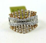 Natural Emerald And Round Diamond Cluster Ladyand039s Ring Band 18k Rose Gold 1.24ct