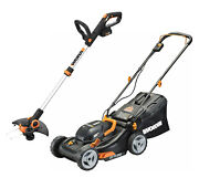 Worx Wg911 2x20v 17 Lawn Mower Powershare With 12 Cordless Gt Trimmer And Edger