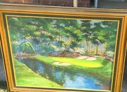 1931 Golden Bell 12th Hole Augusta Masters Golf Mark King 32x41 Painting Ltd