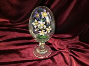 House Of Faberge Franklin Mint Purple Flower Bouquet In Glass Etched Egg Austria
