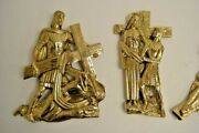 Set Of 14 Stations Of The Cross Solid Brass For Outdoor Or Indoors - 254
