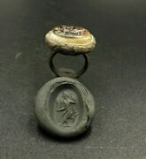 Antique Jewelry Bronze Ring Banded Agate Intaglio Stamp Ancient Sasanian Empire
