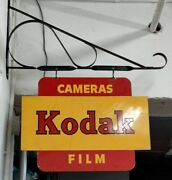 """Vintage """"kodak Cameras And Film"""" Double Sided Metal Store Hanging Sign"""