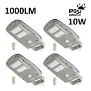 4 Pack Led Solar Street Light 1000 Lm Ip65 With Remote Dusk To Dawn Pir