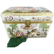 9 Andfrac12andrdquo Antique Capodimonte Casket Hinged Box Putti Dogs Horses Boar