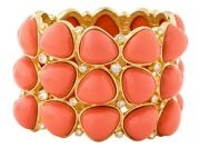 Kenneth Jay Lane Kjl Gripoix Poured Lucite Resin Bracelet Cuff Bangle Coral Wide