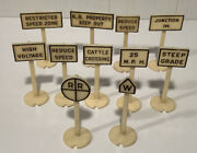 """Unbranded Train Sign Set Of 11 Vintage Rr Railroad Signs Plastic 2 3/4"""" Tall"""