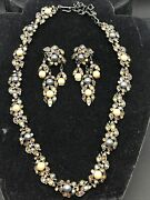 Vintage Kenneth Jay Lane Pearl And Crystal Floral Design Earring And Necklace Set
