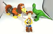 """Disney Pixar Toy Story Talking Rex Action Figure 13"""" Tall Slinky Dog And Woody"""