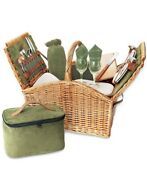Picnic Time Woven Basket W/ Utensils And More New