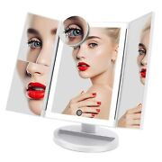 Beauty Fascinate Trifold Lighted Makeup Mirror 3 Color Lighting Modes 72 Leds Va