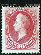 1870 Adm Perry Sc 144 90andcent Carmine Ung Handstamp Red/blk Cork Cnx W/pse Cert