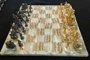 Vintage Indian Sterling Silver 32-piece Chess Set With Onyx Chess Board