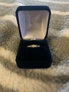 1/2 Carat Total Weight 14k White Gold Diamond Engagement Ring Size 9 - Preowned