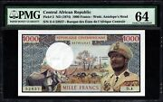 1974 Africa, Central African Republic 1000 Francs Pmg 64 Pick 2 With Rhinoceros