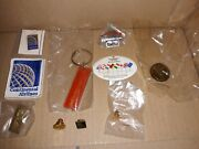 Lot 10x Collectible Vintage Continental Airlines Items Tie Tack Lapel Pins Token
