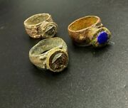 Authentic Lot Old Jewelry Ancient Indo Greek's Bronze Ring Silver Stamp Lapis