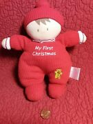 9 Carters My First Christmas Red Waffle Thermal Soft Doll Stuffed Baby Rattle