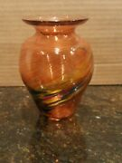 Vtg Glass Eye Studios Hand Blown 4 1/2 Swirled Vase. Great Colors Made In Usa